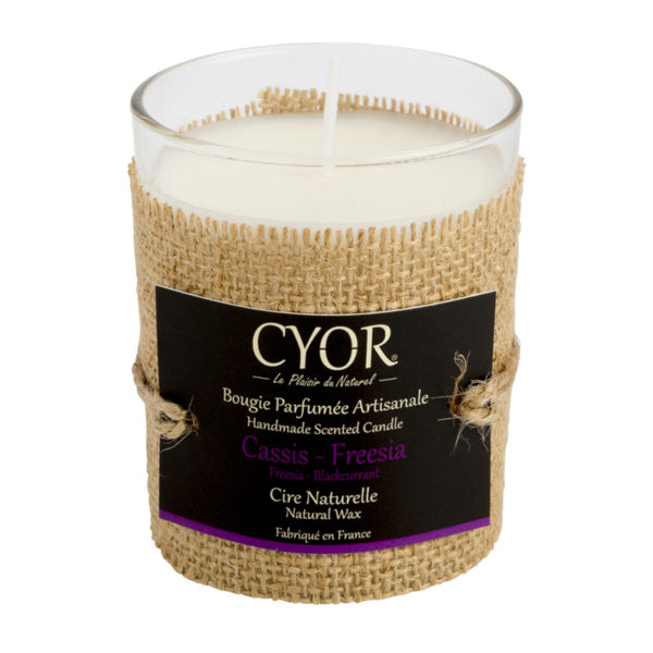 bougie naturelle bio vegan cassis freesia cyor